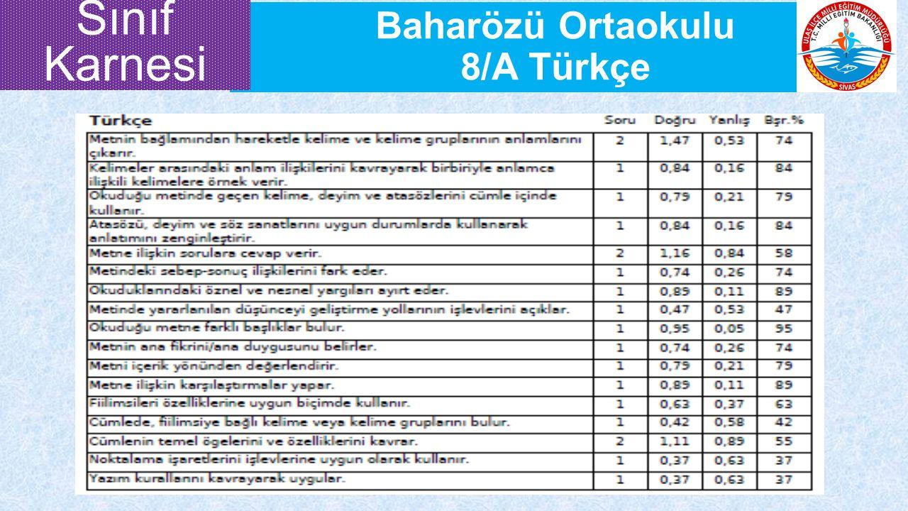 Baharözü Ortaokulu 8/A Türkçe Sınıf Karnesi