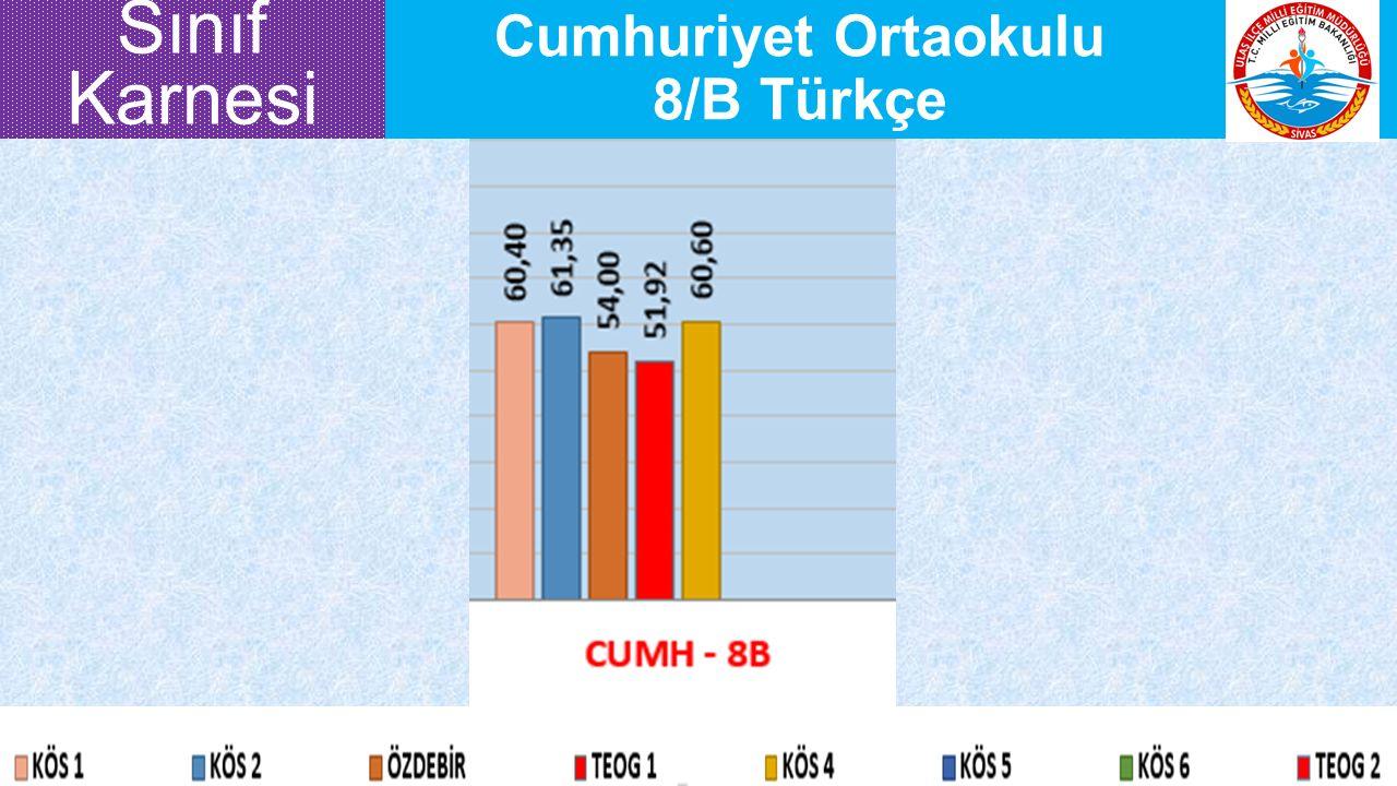 Cumhuriyet Ortaokulu 8/B Türkçe Sınıf Karnesi