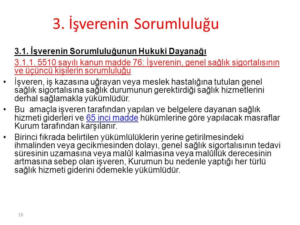 18 3.İşverenin Sorumluluğu 3.1. İşverenin Sorumluluğunun Hukuki Dayanağı 3.1.1.