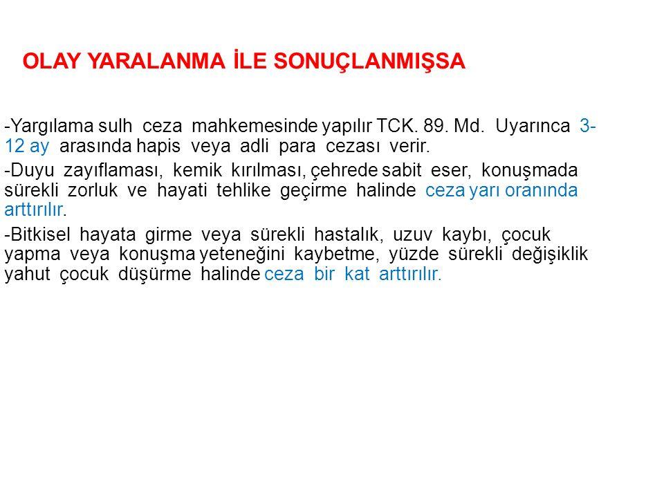 -Yargılama sulh ceza mahkemesinde yapılır TCK.89.