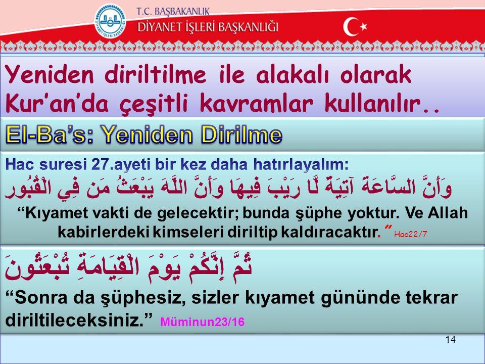 """cc Yeniden diriltilme ile alakalı olarak Kur'an'da çeşitli kavramlar kullanılır.. 14 ثُمَّ إِنَّكُمْ يَوْمَ الْقِيَامَةِ تُبْعَثُونَ """"Sonra da şüphesi"""