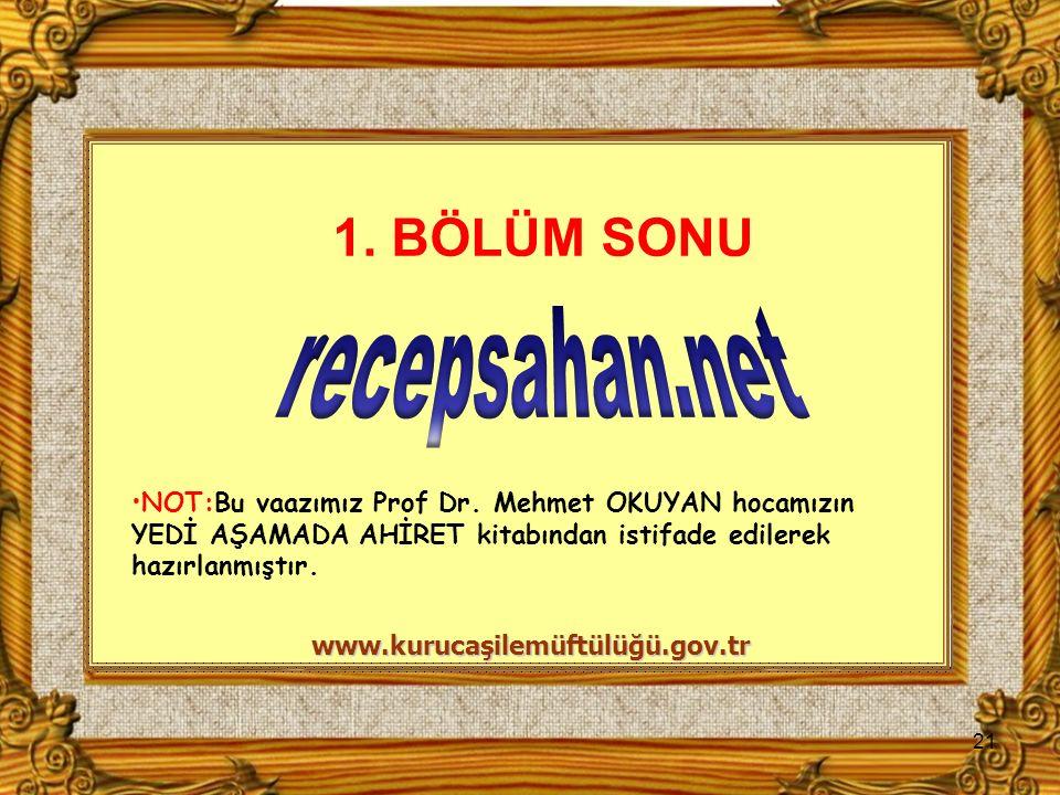 NOT:Bu vaazımız Prof Dr. Mehmet OKUYAN hocamızın YEDİ AŞAMADA AHİRET kitabından istifade edilerek hazırlanmıştır. 21 www.kurucaşilemüftülüğü.gov.tr 1.