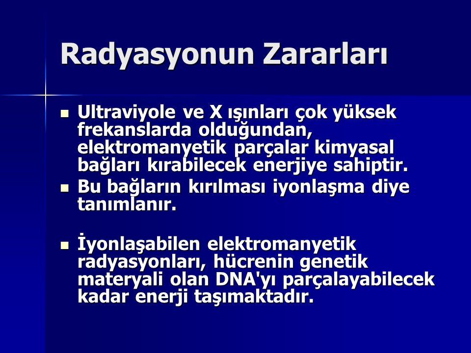 Radyasyonun Zararları Ultraviyole ve X ışınları çok yüksek frekanslarda olduğundan, elektromanyetik parçalar kimyasal bağları kırabilecek enerjiye sah
