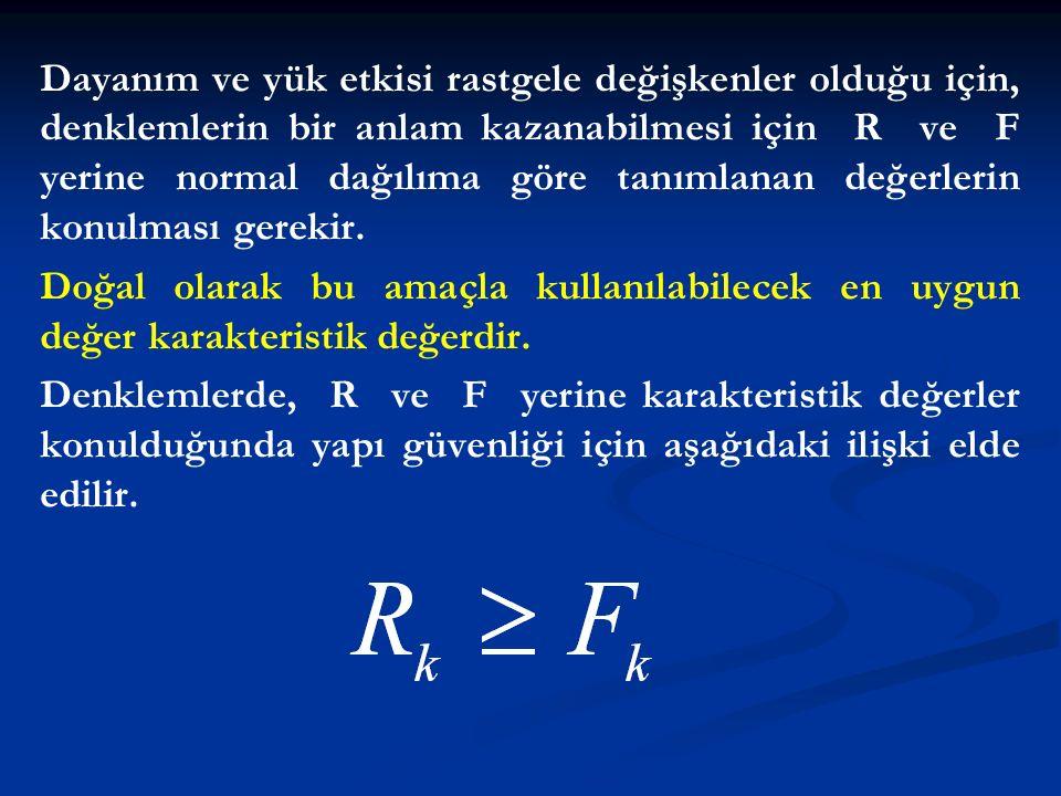 Dayanım ve yük etkisi rastgele değişkenler olduğu için, denklemlerin bir anlam kazanabilmesi için R ve F yerine normal dağılıma göre tanımlanan değerl