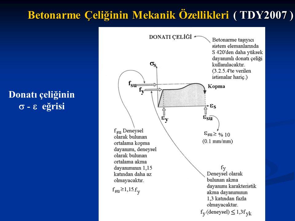 Donatı çeliğinin  -  eğrisi Betonarme Çeliğinin Mekanik Özellikleri ( TDY2007 )