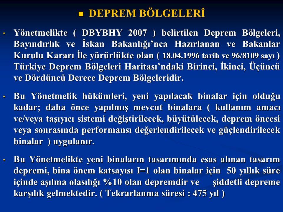 DEPREM BÖLGELERİ DEPREM BÖLGELERİ Yönetmelikte ( DBYBHY 2007 ) belirtilen Deprem Bölgeleri, Bayındırlık ve İskan Bakanlığı'nca Hazırlanan ve Bakanlar Kurulu Kararı İle yürürlükte olan ( 18.04.1996 tarih ve 96/8109 sayı ) Türkiye Deprem Bölgeleri Haritası'ndaki Birinci, İkinci, Üçüncü ve Dördüncü Derece Deprem Bölgeleridir.