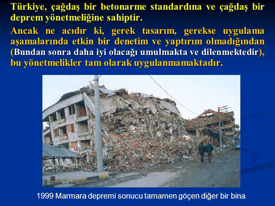 Türkiye, çağdaş bir betonarme standardına ve çağdaş bir deprem yönetmeliğine sahiptir. Ancak ne acıdır ki, gerek tasarım, gerekse uygulama aşamalarınd