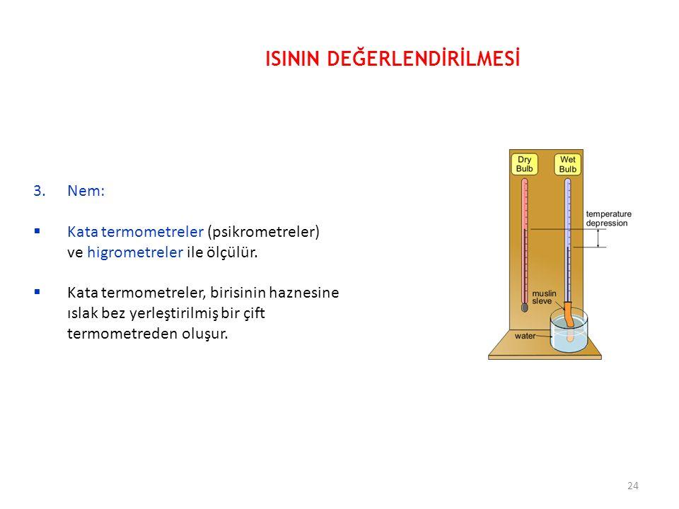 3.Nem:  Kata termometreler (psikrometreler) ve higrometreler ile ölçülür.  Kata termometreler, birisinin haznesine ıslak bez yerleştirilmiş bir çift