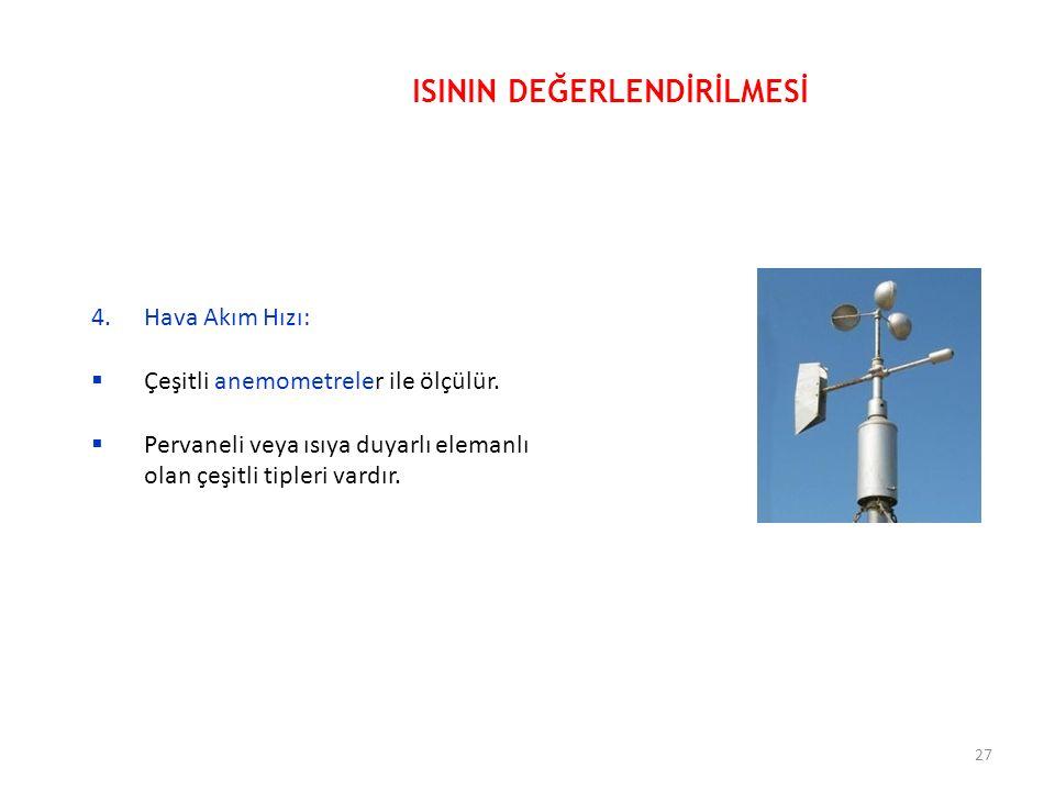 4.Hava Akım Hızı:  Çeşitli anemometreler ile ölçülür.  Pervaneli veya ısıya duyarlı elemanlı olan çeşitli tipleri vardır. ISININ DEĞERLENDİRİLMESİ 2