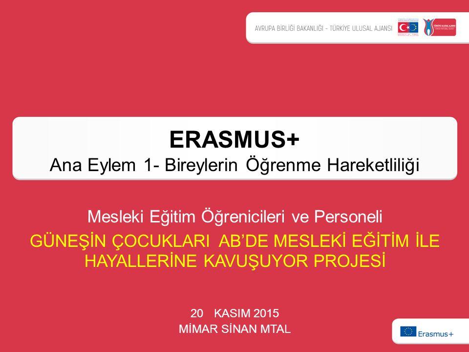 ERASMUS+ Ana Eylem 1- Bireylerin Öğrenme Hareketliliği 20 KASIM 2015 MİMAR SİNAN MTAL Mesleki Eğitim Öğrenicileri ve Personeli GÜNEŞİN ÇOCUKLARI AB'DE