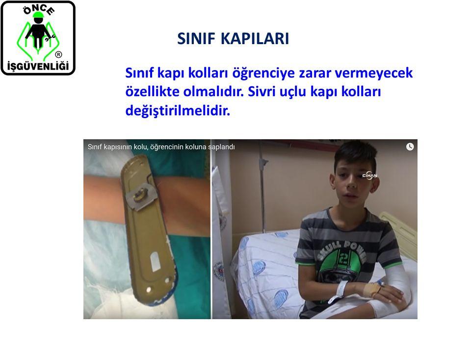 SINIF KAPILARI Sınıf kapı kolları öğrenciye zarar vermeyecek özellikte olmalıdır. Sivri uçlu kapı kolları değiştirilmelidir.