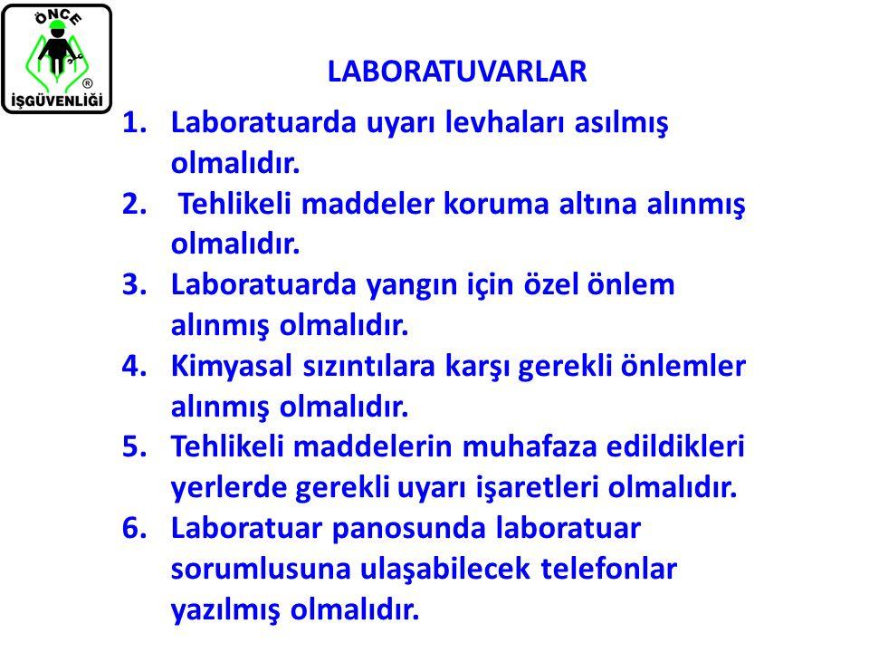 LABORATUVARLAR 1.Laboratuarda uyarı levhaları asılmış olmalıdır. 2. Tehlikeli maddeler koruma altına alınmış olmalıdır. 3.Laboratuarda yangın için öze
