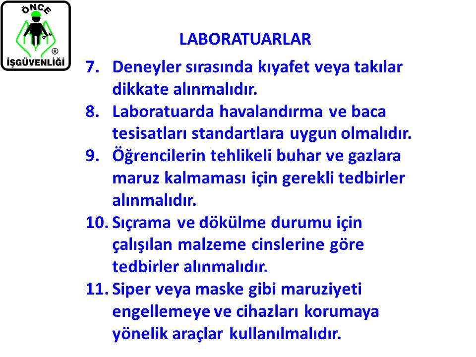 LABORATUARLAR 7.Deneyler sırasında kıyafet veya takılar dikkate alınmalıdır. 8.Laboratuarda havalandırma ve baca tesisatları standartlara uygun olmalı