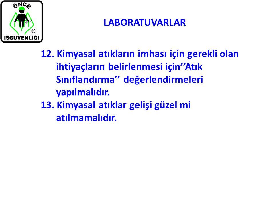 LABORATUVARLAR 12. Kimyasal atıkların imhası için gerekli olan ihtiyaçların belirlenmesi için''Atık Sınıflandırma'' değerlendirmeleri yapılmalıdır. 13