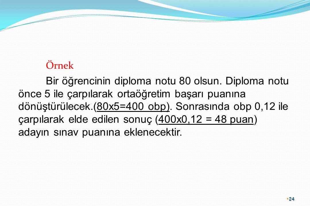 Örnek Bir öğrencinin diploma notu 80 olsun.
