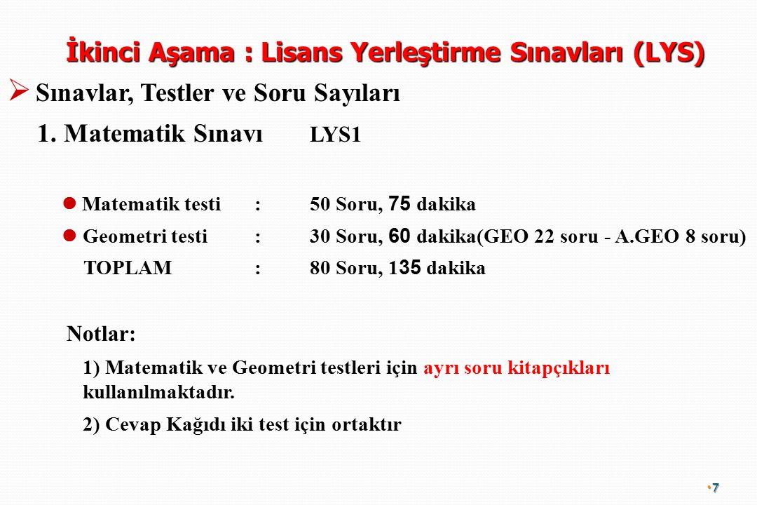 İkinci Aşama : Lisans Yerleştirme Sınavları (LYS)   Sınavlar, Testler ve Soru Sayıları 1.