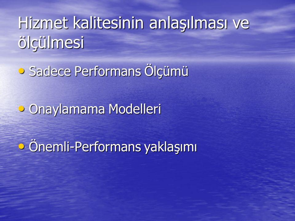 Hizmet kalitesinin anlaşılması ve ölçülmesi Sadece Performans Ölçümü Sadece Performans Ölçümü Onaylamama Modelleri Onaylamama Modelleri Önemli-Performans yaklaşımı Önemli-Performans yaklaşımı