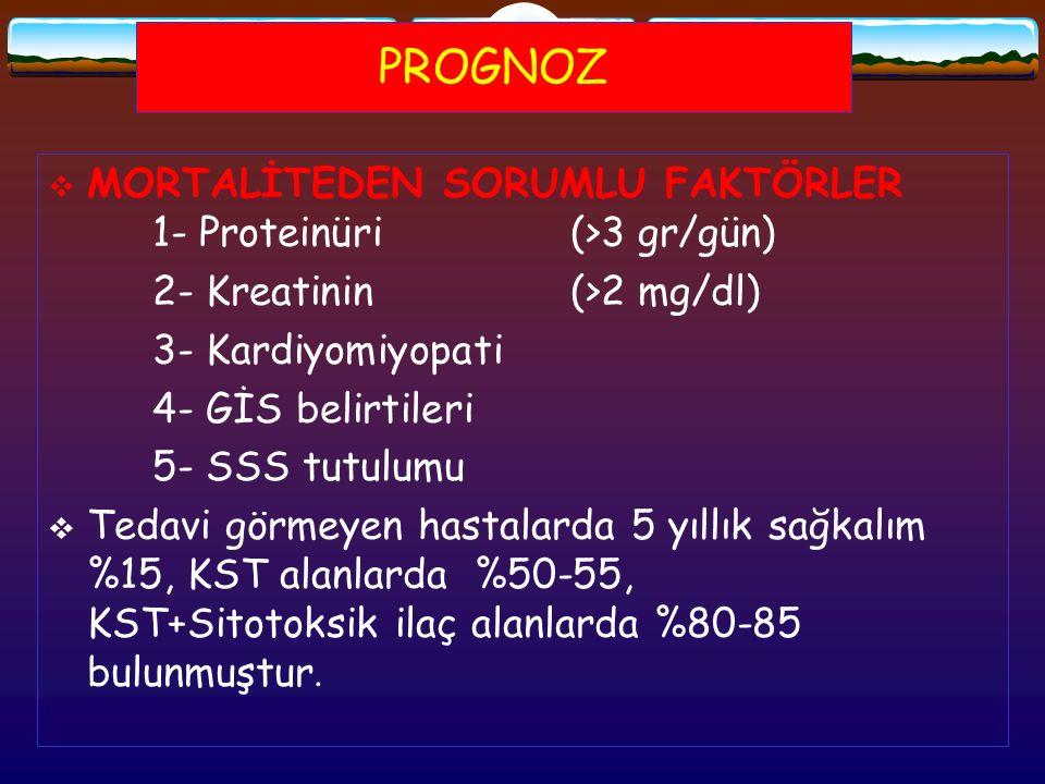 PROGNOZ  MORTALİTEDEN SORUMLU FAKTÖRLER 1- Proteinüri(>3 gr/gün) 2- Kreatinin(>2 mg/dl) 3- Kardiyomiyopati 4- GİS belirtileri 5- SSS tutulumu  Tedav