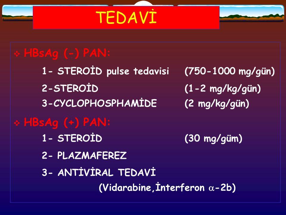 TEDAVİ  HBsAg (-) PAN: 1- STEROİD pulse tedavisi(750-1000 mg/gün) 2-STEROİD(1-2 mg/kg/gün) 3-CYCLOPHOSPHAMİDE (2 mg/kg/gün)  HBsAg (+) PAN: 1- STERO