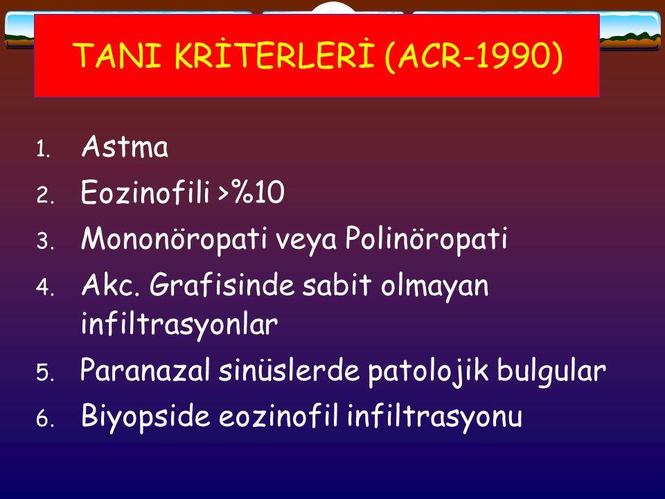 TANI KRİTERLERİ (ACR-1990) 1. Astma 2. Eozinofili >%10 3. Mononöropati veya Polinöropati 4. Akc. Grafisinde sabit olmayan infiltrasyonlar 5. Paranazal
