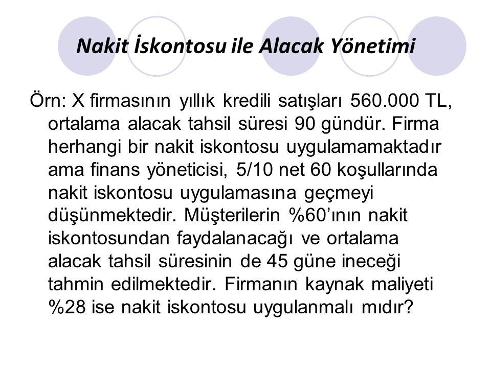 Nakit İskontosu ile Alacak Yönetimi Örn: X firmasının yıllık kredili satışları 560.000 TL, ortalama alacak tahsil süresi 90 gündür. Firma herhangi bir