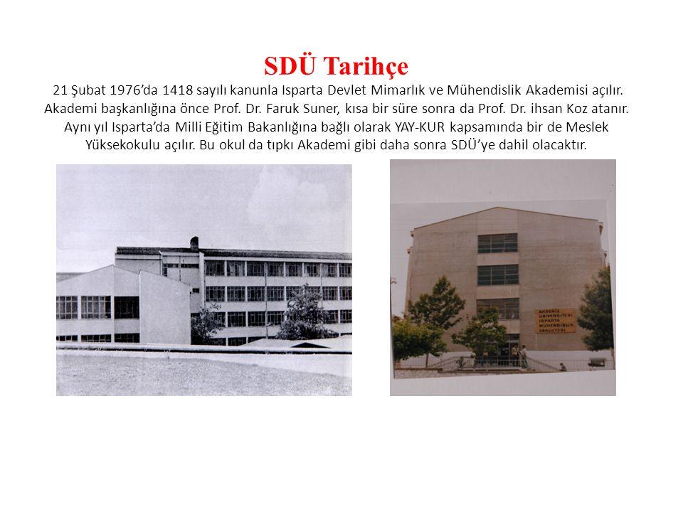 SDÜ Tarihçe 21 Şubat 1976'da 1418 sayılı kanunla Isparta Devlet Mimarlık ve Mühendislik Akademisi açılır.