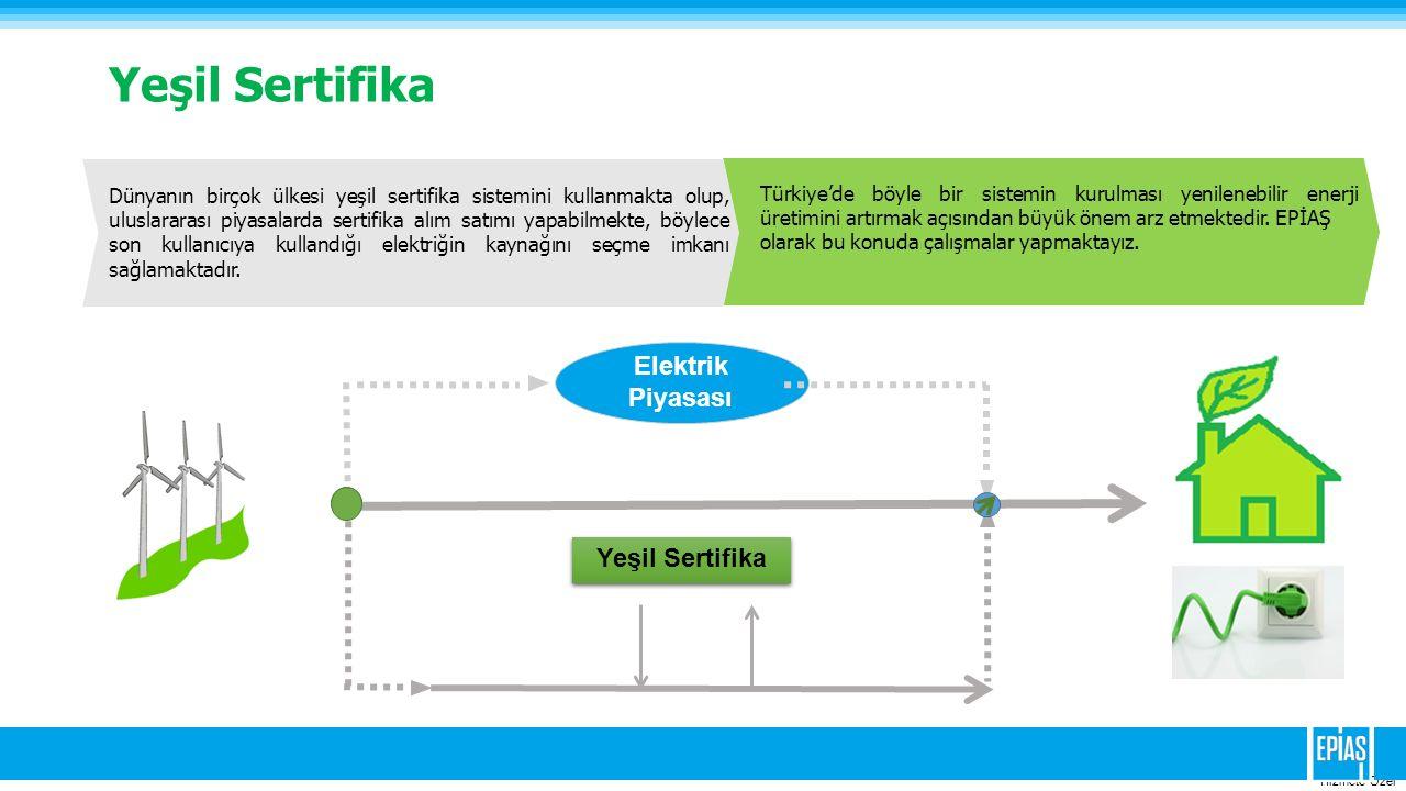 Hizmete Ozel Yeşil Sertifika Elektrik Piyasası Yeşil Sertifika Dünyanın birçok ülkesi yeşil sertifika sistemini kullanmakta olup, uluslararası piyasal