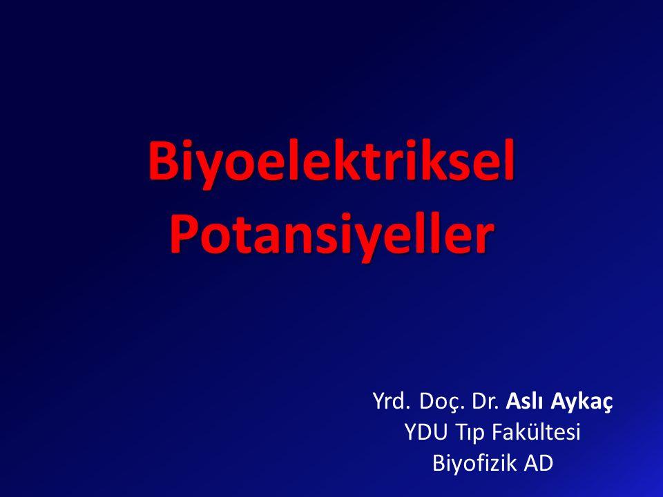 Biyoelektriksel Potansiyeller Yrd. Doç. Dr. Aslı Aykaç YDU Tıp Fakültesi Biyofizik AD