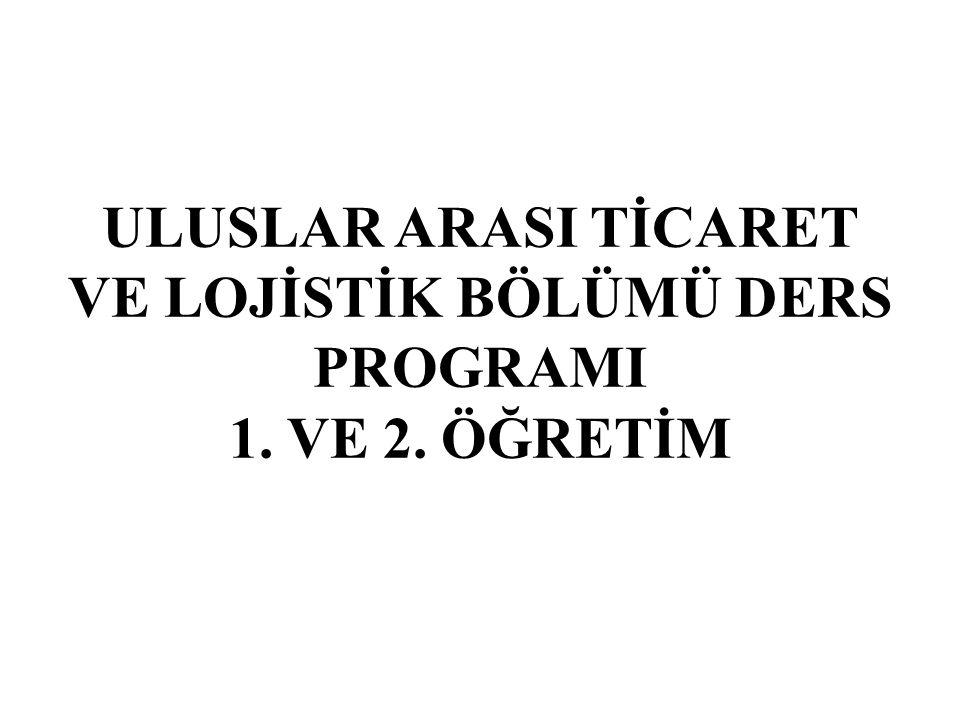 ULUSLAR ARASI TİCARET VE LOJİSTİK BÖLÜMÜ DERS PROGRAMI 1. VE 2. ÖĞRETİM