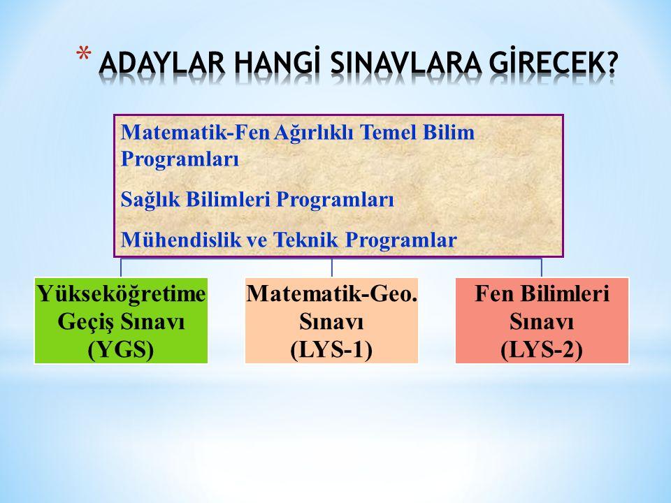 Yükseköğretime Geçiş Sınavı (YGS) Matematik-Geo. Sınavı (LYS-1) Fen Bilimleri Sınavı (LYS-2) Matematik-Fen Ağırlıklı Temel Bilim Programları Sağlık Bi