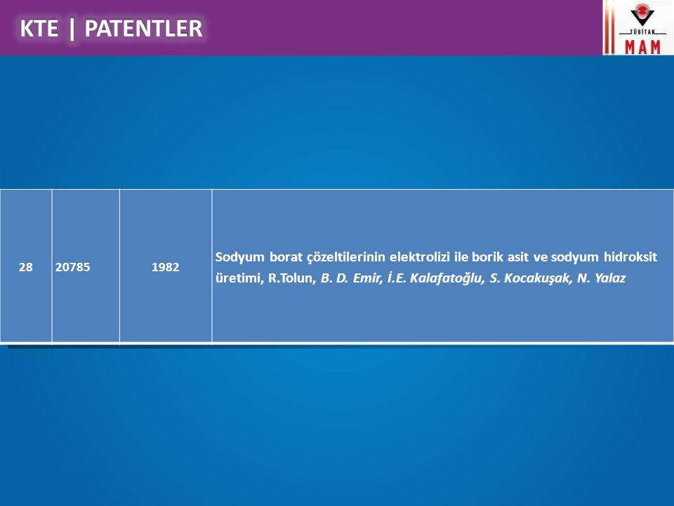 KTE Çalışma Konuları 28207851982 Sodyum borat çözeltilerinin elektrolizi ile borik asit ve sodyum hidroksit üretimi, R.Tolun, B. D. Emir, İ.E. Kalafat