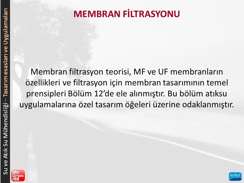 MEMBRAN FİLTRASYONU Membran filtrasyon teorisi, MF ve UF membranların özellikleri ve filtrasyon için membran tasarımının temel prensipleri Bölüm 12'de
