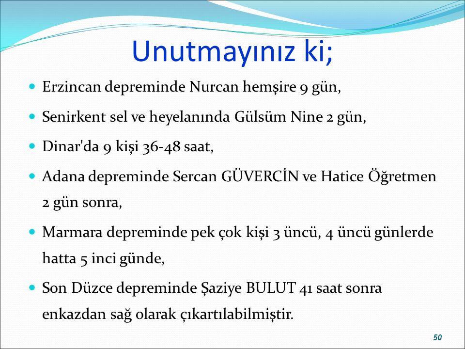 Unutmayınız ki; Erzincan depreminde Nurcan hemşire 9 gün, Senirkent sel ve heyelanında Gülsüm Nine 2 gün, Dinar'da 9 kişi 36-48 saat, Adana depreminde