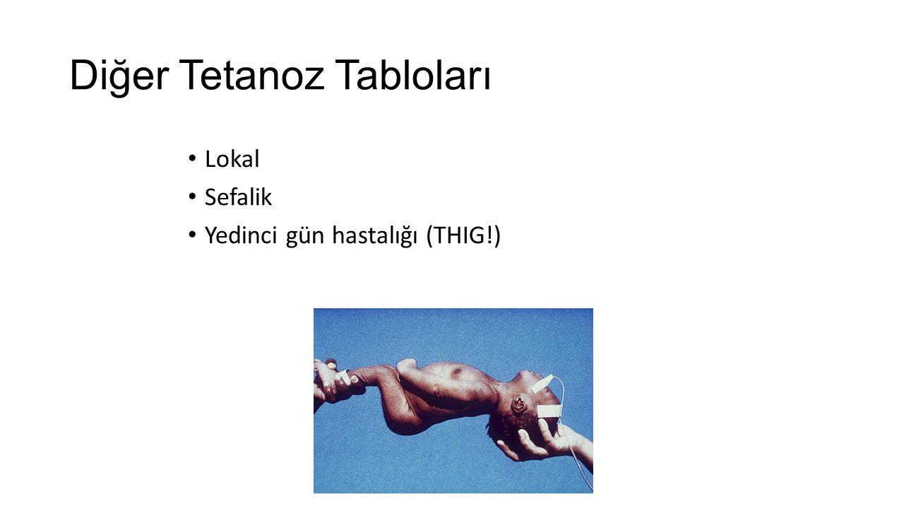 Diğer Tetanoz Tabloları Lokal Sefalik Yedinci gün hastalığı (THIG!)