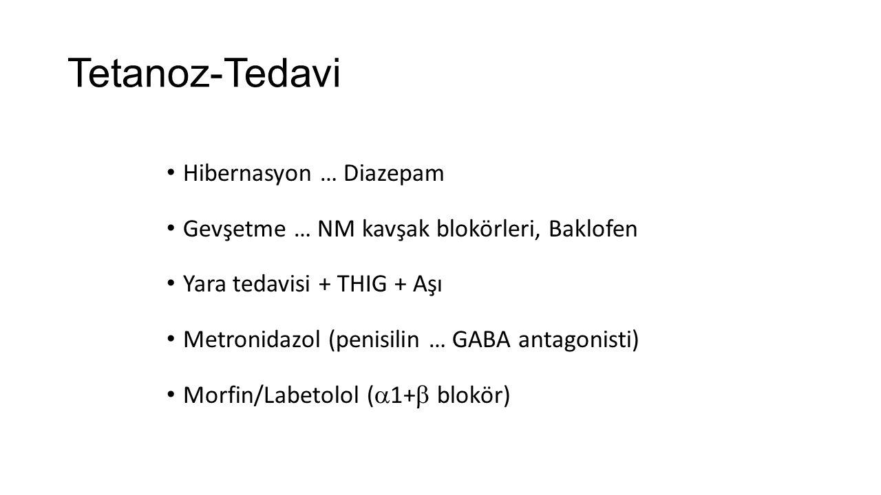Tetanoz-Tedavi Hibernasyon … Diazepam Gevşetme … NM kavşak blokörleri, Baklofen Yara tedavisi + THIG + Aşı Metronidazol (penisilin … GABA antagonisti)