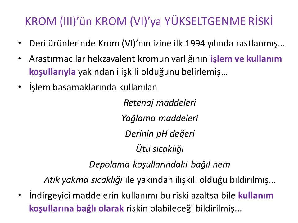 Deri ürünlerinde Krom (VI)'nın izine ilk 1994 yılında rastlanmış… Araştırmacılar hekzavalent kromun varlığının işlem ve kullanım koşullarıyla yakından