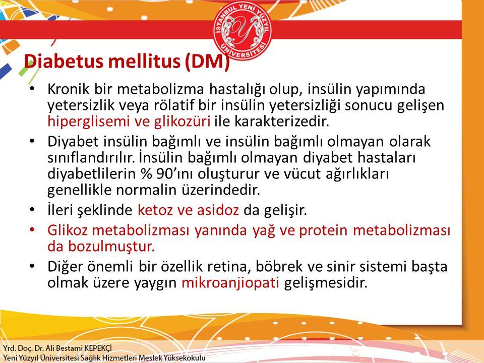 DM Komplikasyonları  Diyabetik bir hastada koroner arter hastalığı ve sessiz iskemi riski çok yüksektir.