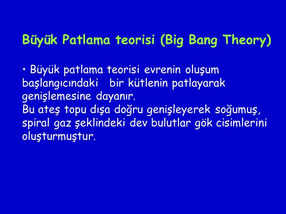 Büyük Patlama teorisi (Big Bang Theory) Büyük patlama teorisi evrenin oluşum başlangıcındaki bir kütlenin patlayarak genişlemesine dayanır. Bu ateş to