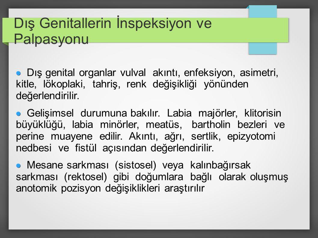 Dış Genitallerin İnspeksiyon ve Palpasyonu Dış genital organlar vulval akıntı, enfeksiyon, asimetri, kitle, lökoplaki, tahriş, renk değişikliği yönünd