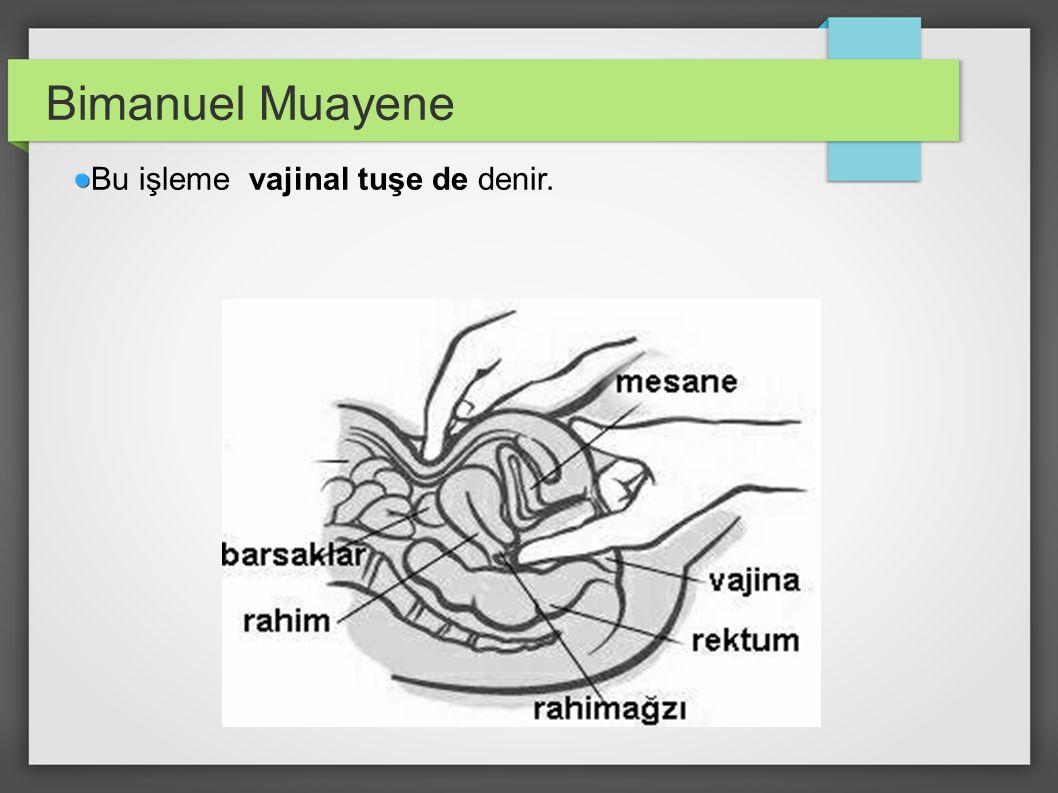 Bimanuel Muayene Bu işleme vajinal tuşe de denir.