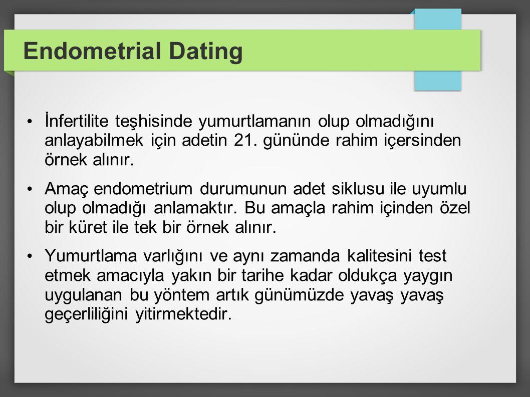 Endometrial Dating İnfertilite teşhisinde yumurtlamanın olup olmadığını anlayabilmek için adetin 21. gününde rahim içersinden örnek alınır. Amaç endom