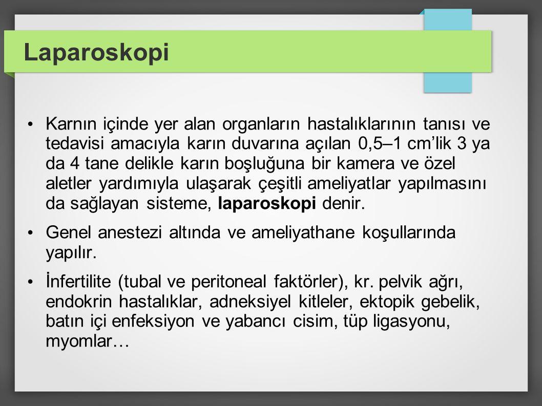 Laparoskopi Karnın içinde yer alan organların hastalıklarının tanısı ve tedavisi amacıyla karın duvarına açılan 0,5–1 cm'lik 3 ya da 4 tane delikle ka