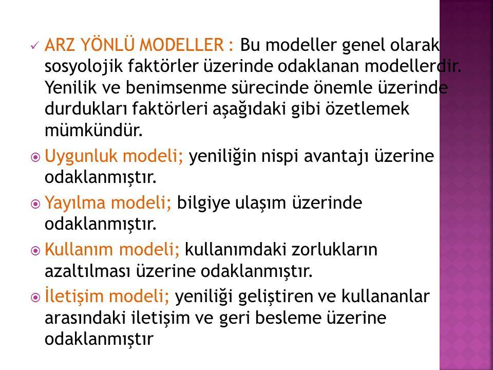 ARZ YÖNLÜ MODELLER : Bu modeller genel olarak sosyolojik faktörler üzerinde odaklanan modellerdir.