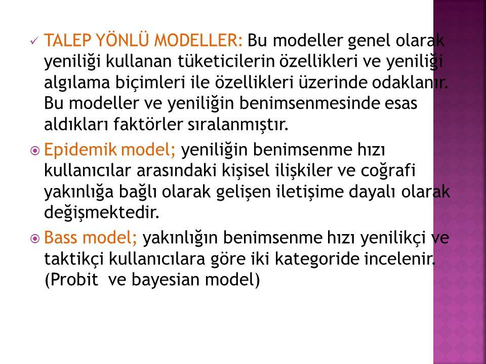 TALEP YÖNLÜ MODELLER: Bu modeller genel olarak yeniliği kullanan tüketicilerin özellikleri ve yeniliği algılama biçimleri ile özellikleri üzerinde odaklanır.