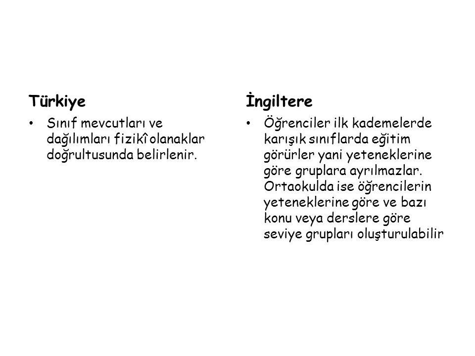 Türkiye Sınıf mevcutları ve dağılımları fizikî olanaklar doğrultusunda belirlenir. İngiltere Öğrenciler ilk kademelerde karışık sınıflarda eğitim görü