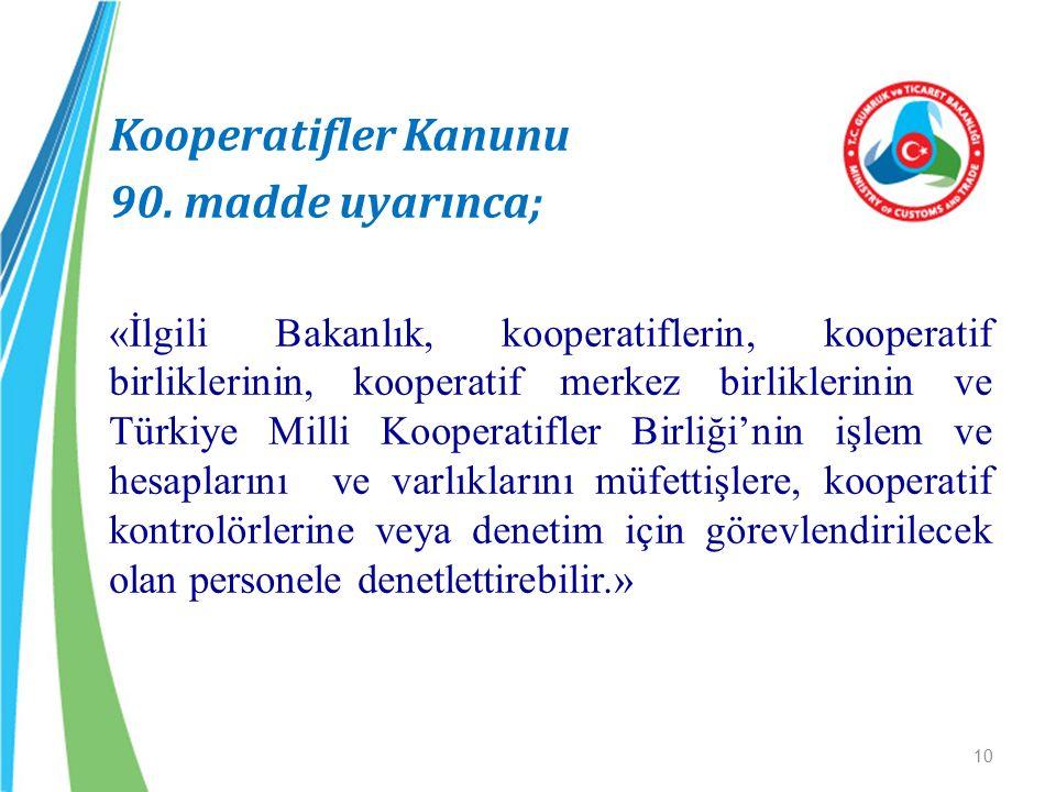 Kooperatifler Kanunu 90. madde uyarınca; «İlgili Bakanlık, kooperatiflerin, kooperatif birliklerinin, kooperatif merkez birliklerinin ve Türkiye Milli