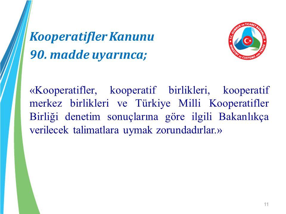 Kooperatifler Kanunu 90. madde uyarınca; «Kooperatifler, kooperatif birlikleri, kooperatif merkez birlikleri ve Türkiye Milli Kooperatifler Birliği de