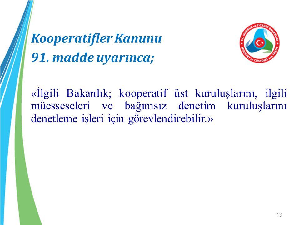 Kooperatifler Kanunu 91. madde uyarınca; «İlgili Bakanlık; kooperatif üst kuruluşlarını, ilgili müesseseleri ve bağımsız denetim kuruluşlarını denetle
