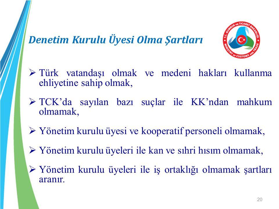 Denetim Kurulu Üyesi Olma Şartları  Türk vatandaşı olmak ve medeni hakları kullanma ehliyetine sahip olmak,  TCK'da sayılan bazı suçlar ile KK'ndan