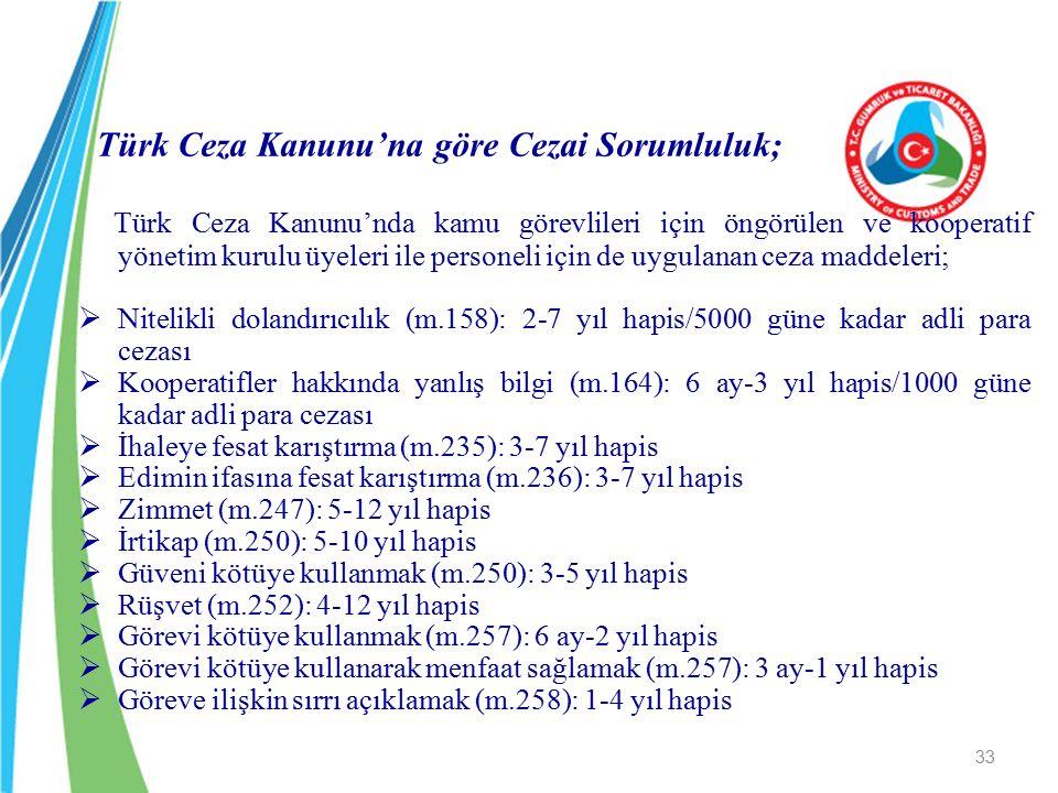 Türk Ceza Kanunu'na göre Cezai Sorumluluk; Türk Ceza Kanunu'nda kamu görevlileri için öngörülen ve kooperatif yönetim kurulu üyeleri ile personeli içi